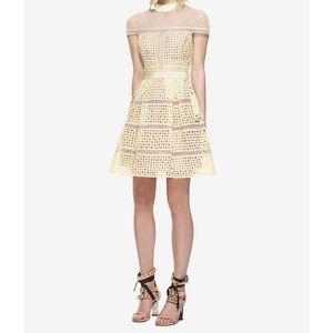 Self-Portrait Dresses - SELF-PORTRAIT Yellow Crosshatch Lace Mini